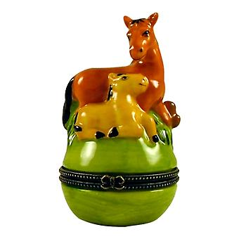 Mother Horse Pony Colt Baby Hinged Trinket Box phb
