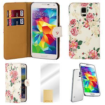 Blomma bok PU läder fallet täcker för Samsung Galaxy S5 (SM-G900) - Hot Pink