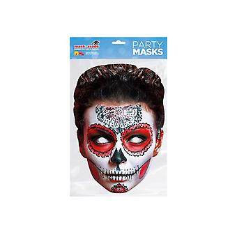 Day of the Dead Red Zombie Female Single 2D Card Party Fancy Dress Mask