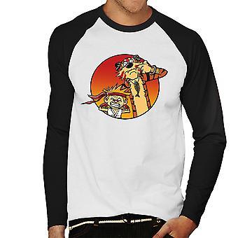 Street Pals Street Fighter Calvin And Hobbes Men's Baseball Long Sleeved T-Shirt