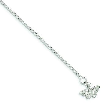 925 Sterling Silver Flat back Solid Polished Butterfly Angel Wings Anklet Spring Ring Jewelry Gifts for Women - Length: