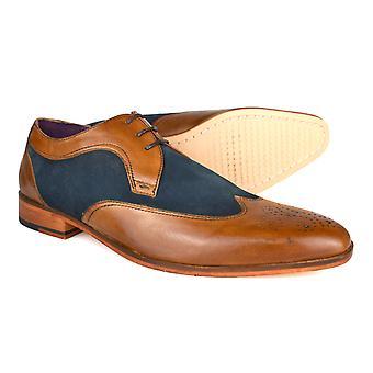Gucinari Lansky Tan & Blue Leather Formal Brogue Shoes AMP16-1