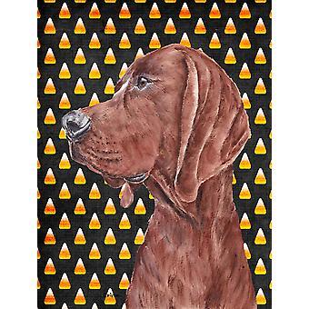 Redbone Coonhound Candy Corn Halloween Flag Canvas House Size