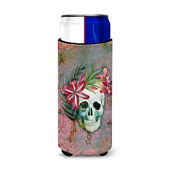 Day of the Dead Skull Flowers Michelob Ultra Hugger for slim cans