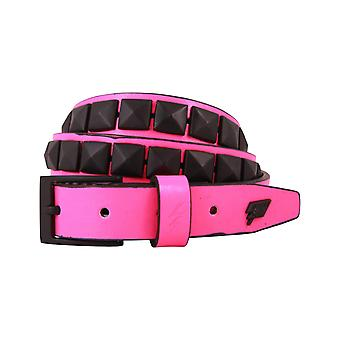 Lowlife Single Stud Leather Belt in Pink and Black