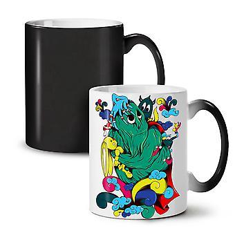 Fantasy kreskówka potwór nowy czarny kolor zmiana herbata kawa ceramiczny kubek 11 oz | Wellcoda