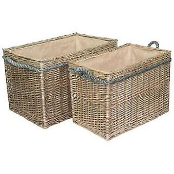 Set 2 Rectangular Rope Handled Wicker Log Baskets