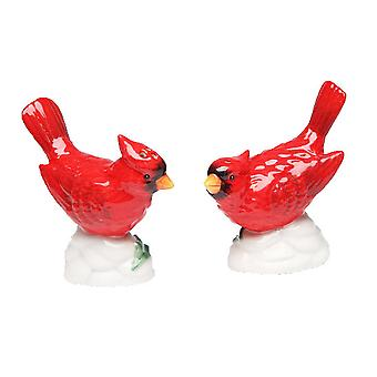Virginia Red Perched Bird Cardinals Salt and Pepper Shakers Ceramic