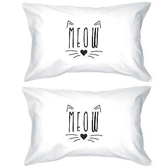 ニャー綿枕カバー クイーン サイズ猫恋人高品質