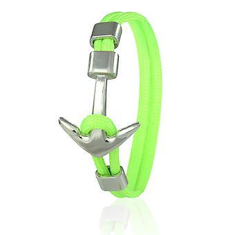 Patrón ancla brazalete 21 cm nylon brazo joyería neón verde con ancla de plata 6961