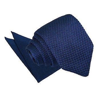 Cravate Slim tricot bleu marine & Set de mouchoir de poche