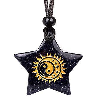 Magique Super Star Yin Yang Sun Moon positif alimente amulette Goldstone pendentif Lucky