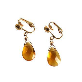 Gemshine-dam-örhängen-öron klämmor-guldpläterade-Citrin-Drop-gul