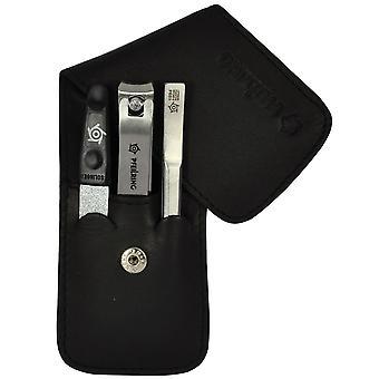 Flecha anillo manicura set manicura cuidado de las uñas caso cuero negro 3 piezas montaje