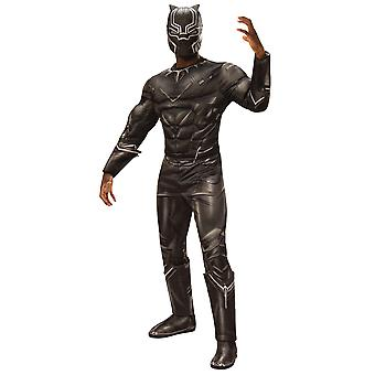 Black Panther Deluxe Muscle Chest Marvel Captain America Superhero Mens Costume