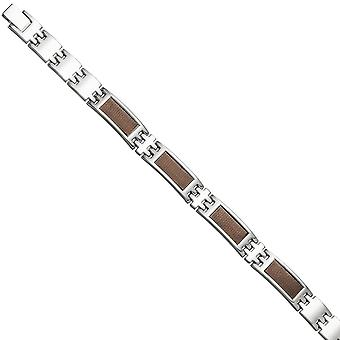 Men's bracelet in stainless steel with Brown carbon deposits 21 cm