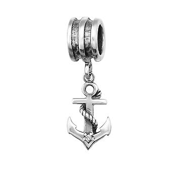 Anchor - 925 Sterling Silver Jewelled Beads - W29222X
