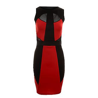 Дамы без рукавов цвет блока панелями женщин сетки контраст Bodycon платье