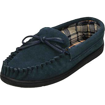 Cushion-Walk Navy Blue Suede Leather Moccasin Slippers
