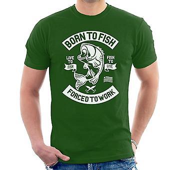 Divertente e fresco Nato ai pesci costretti a lavorare t-shirt uomo