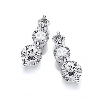 Cavendish French Triple Cubic Zironia Solitaire Earrings