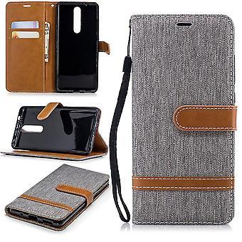 Tasche für Nokia 5.1 Jeans Cover Handy Schutz Hülle Case Grau