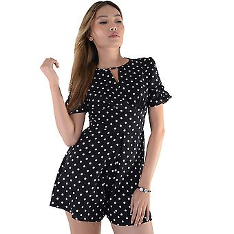 Lovemystyle Black Playsuit With White Polk-A-Dot