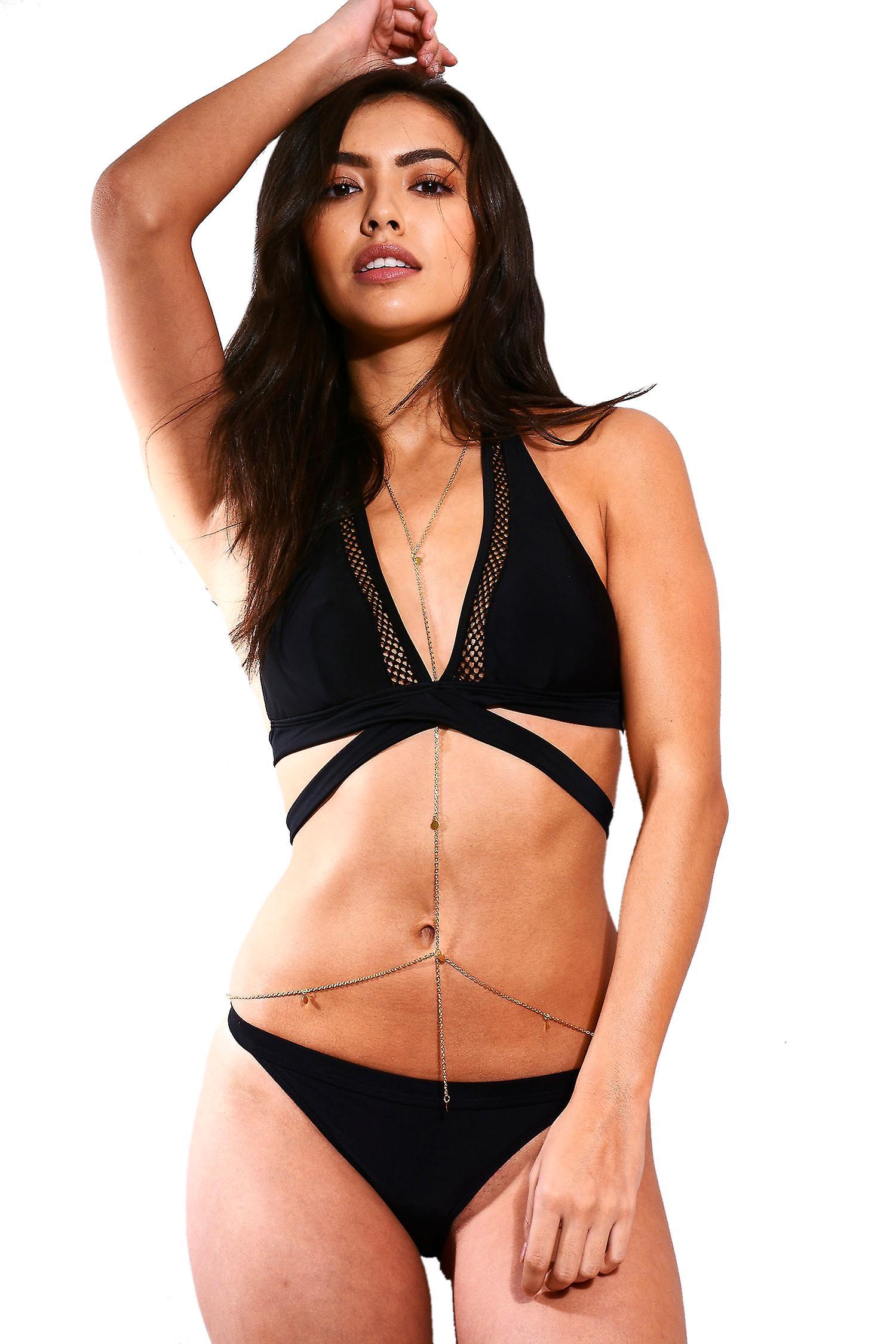 LMS Black Double Strap Halter Neck Bikini With Mesh Insert Detail - SAMPLE