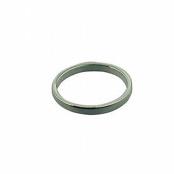 Platinum 2mm almindelig flat Wedding Ring størrelse Pedersen