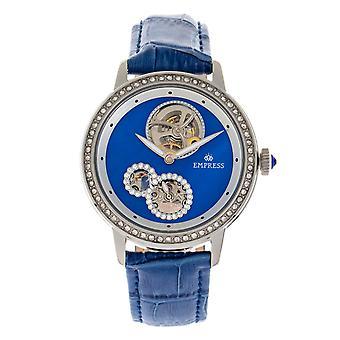 Kaiserin Tatiana automatische semi-Skeleton Lederarmband Watch - blau