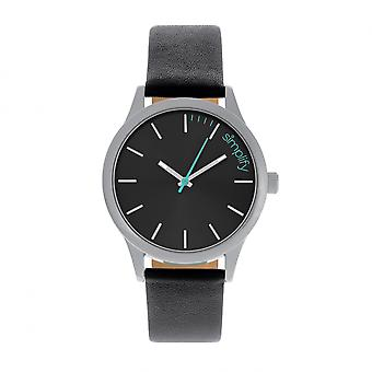 Simplify The 2400 Leather-Band Unisex Watch - Silver/Black