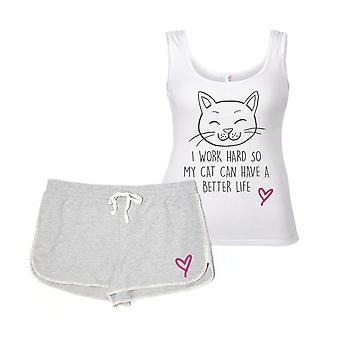 Pracujem tvrdo, takže moja mačka môže mať lepší život mačka Pyjama set