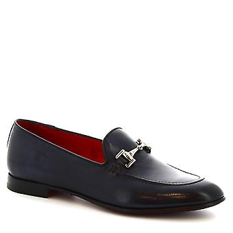 Leonardo Shoes Women's handmade bit loafers in blue calf leather