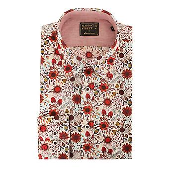 Maddox Street Red Strawberry Sunflower Floral Long Sleeve Mens Shirt