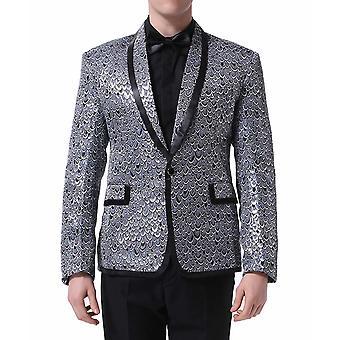 Allthemen Men es Tuxedo Suit Fish Scale Stage Zetch-2-Pieces Suit Blazer & Pants