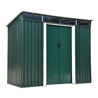 Outsunny Pent Roofed Metal Garden Shed House Hut Gardening Tool Storage Foundation and Ventilation