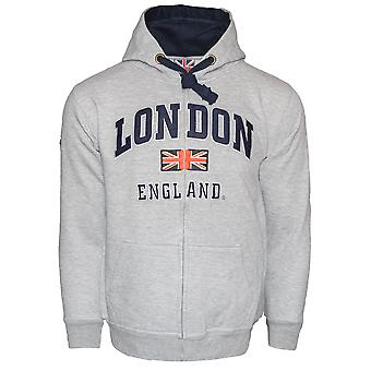 Le129zgn unisex london england zipped hoodie hooded sweatshirt grey navy xs-2xl