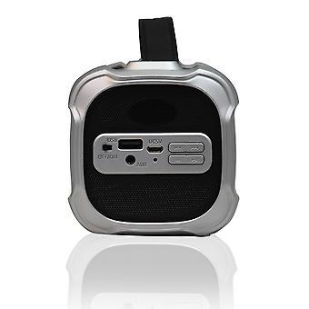 軸ポータブルブルートゥースメディアスピーカー3.5mmオージャックとFMラジオ - グレー