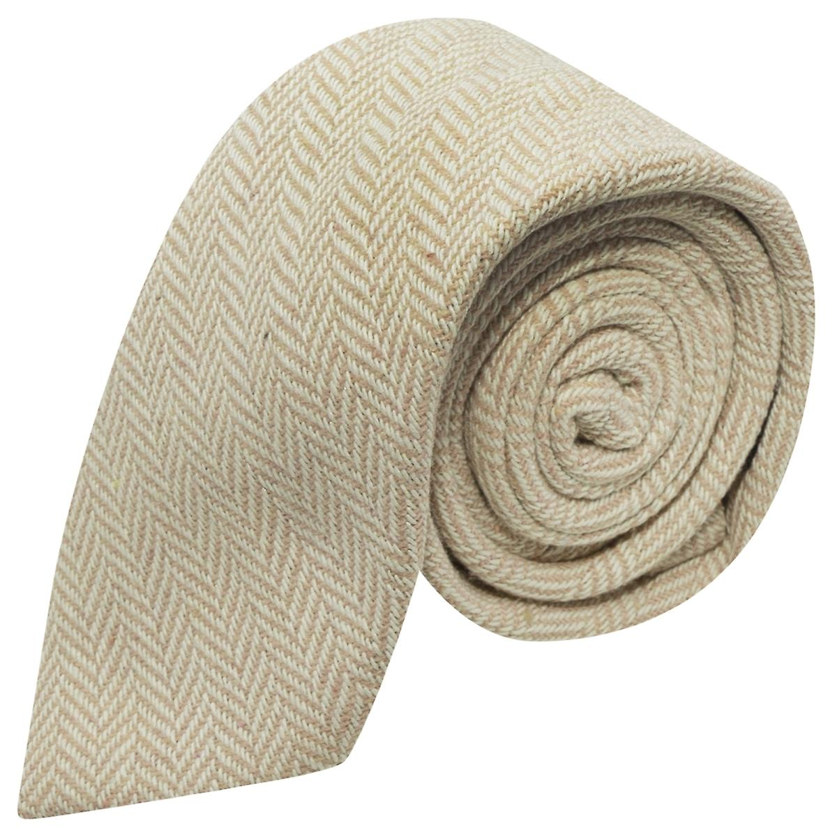 Gold & Cream Herringbone Tie