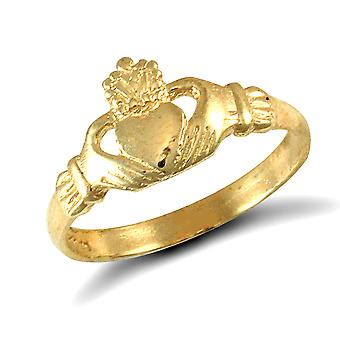 Jewelco London Kids Solid 9ct Yellow Gold Claddagh (Chladaigh) Baby Ring