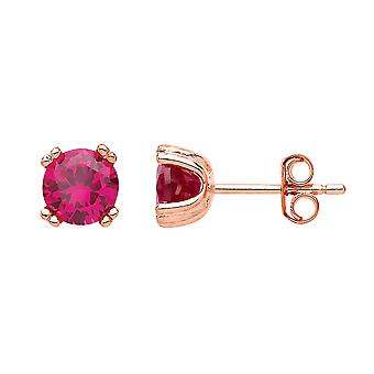 Jewelco London Ladies Rose Gold-Plated Silver Rose rouge Round Cubic zirconia Double 4 Claw Solitaire Stud Boucles d'oreilles