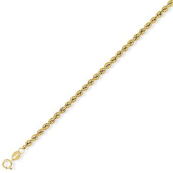 Jewelco London 9ct Yellow Gold - Rope Pendant Chain Necklace - 3.2mm gauge