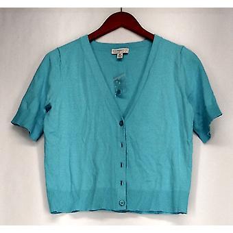 Isaac Mizrahi Live! Button Down abgeschnitten Cardigan Pullover blau A254156