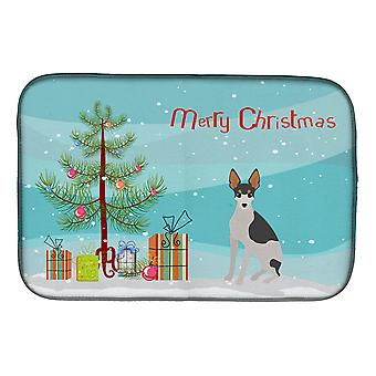 Miniature Fox Terrier #2 Christmas Tree Dish Drying Mat