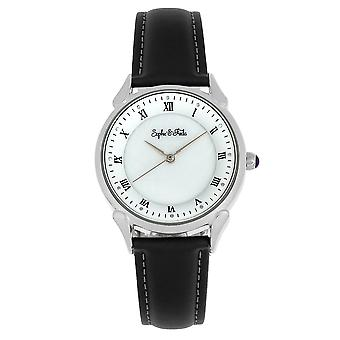 Sophie and Freda Mykonos Mother-Of-Pearl Leather-Band Watch - Black