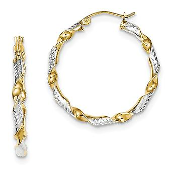 925 Sterling Silver Hinged post With 14k Gold Plated Sparkle Cut 3x30mm Twisted Hoop Earrings Jewelry Gifts for Women