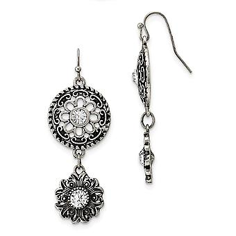 Silver tone Shepherd hook Double Drop Floral With Clear Crystal Dangle Earrings Jewelry Gifts for Women