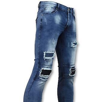 Biker Jeans   Met Rits - Slim Fit - ZS1061- Blauw