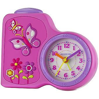 JACQUES FAREL Children's Alarm Clock Wekker analoge Quartz bloemenmeisje ACB 711 door roze