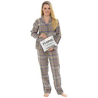 Senhoras verificado botão de impressão fronted pyjama conjunto com saco de presente